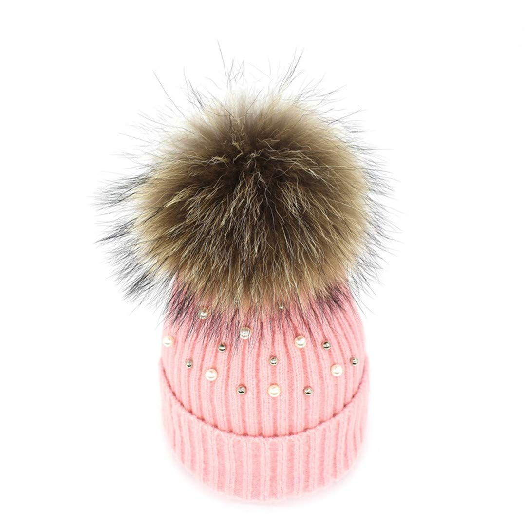 Winter Wool Knitted Hat Beanies With Real Mink Fur Pom Poms Skullies Natural Raccoon Bobble Fur Hat Caps light pink