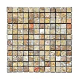 Scabos 1 X 1 Tumbled Travertine Mosaic Tile - 6 X 6 Sample Piece