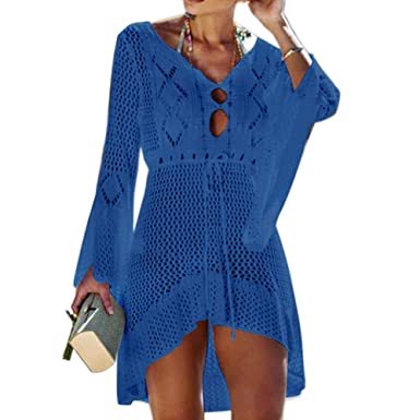 c573eaf2d7 Wuree Women Beachwear Bikini Cover Up Swimwear Swimsuit Hollow Out V Neck  Knit Beach Bathing Cover Ups Dress for Ladies (Blue): Amazon.co.uk: Clothing