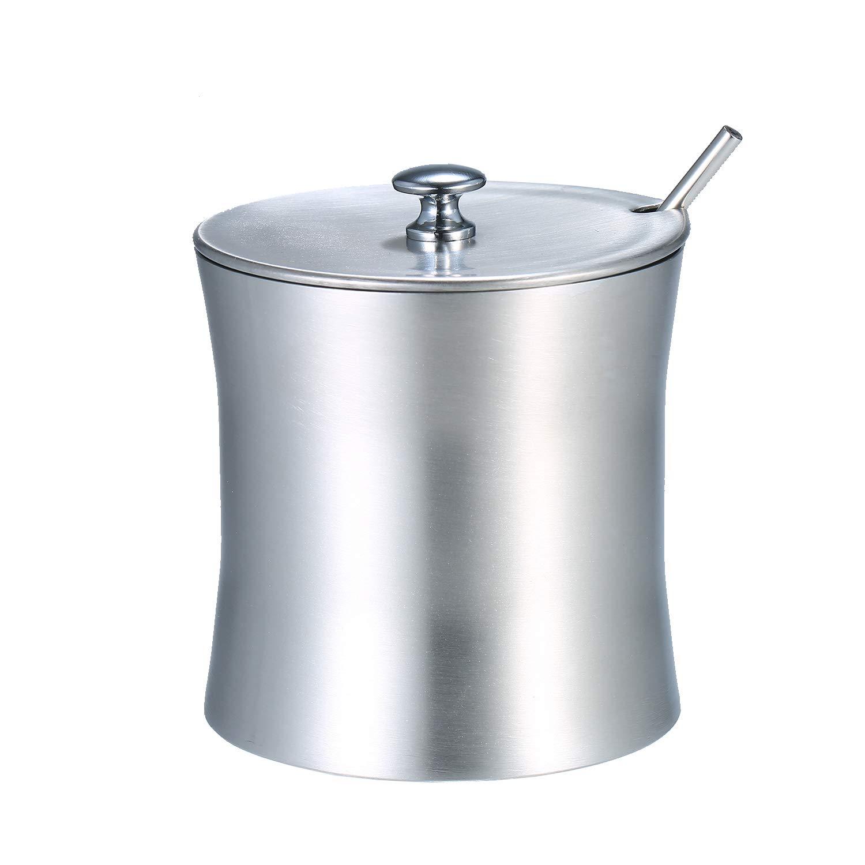 Montloxs Olla de condimento de Acero Inoxidable Pimienta de Cocina Tarro de Almacenamiento de Sal Azucarero con Tapa y Cuchara