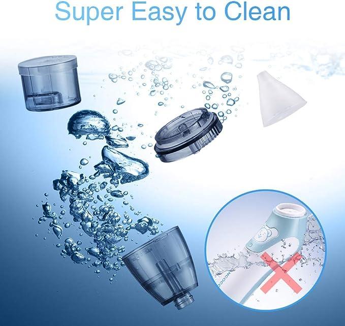 Aspirador nasal aspirador nasal port/átil adecuado para beb/és y ni/ños peque/ños seguro limpiador de nariz el/éctrico para beb/és y removedor de cera de o/ídos con 4 chupadores de mocos reutilizables