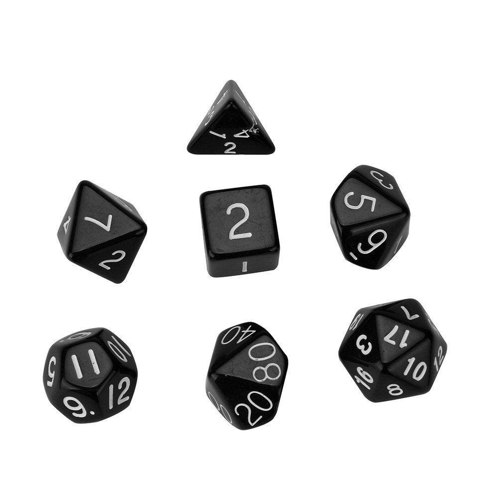Black Rcool Multi Sided Dices Set 7PCS Pearl Grain D4-D20 Polyhedral RPG Role Playing Game Dice Toy Gift