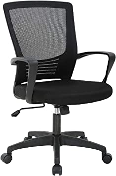 Amazon Com Office Chair Ergonomic Desk Chair Swivel Rolling Computer Chair Executive Lumbar Support Task Mesh Chair Metal Base For Home Office Black Furniture Decor