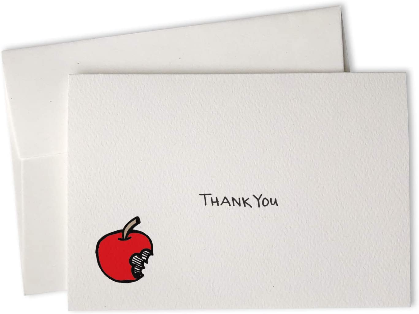 Bitten Apple Thank You Cards - 24 Cards with Envelopes