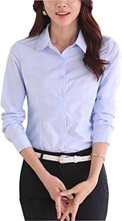 Double Plus Open DPO botón Abajo Basic – Camiseta de Manga Larga de algodón de Las Mujeres con elástico