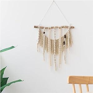 BEAUNERY Macrame Wall Hanging Woven Boho Chic Wall Decor Bohemian Cotton Handmade for Living Room Bedroom Apartment Dorm, 18