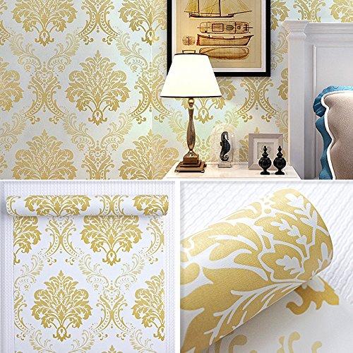 SimpleLife4U Luxury Damask Design Self-Adhesive Shelf Drawer Liner PVC Contact Paper ()