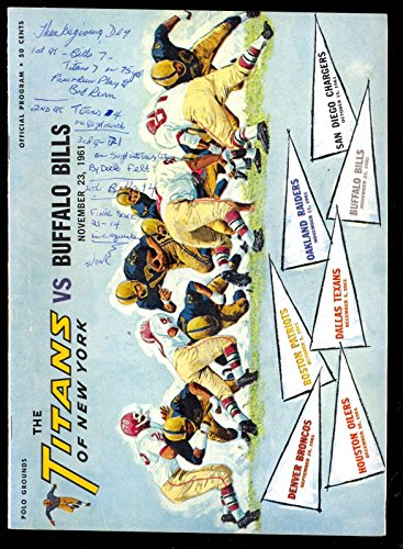 (1961 New York Titans vs. Buffalo Bills Program November 23 Polo Grounds)