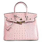 Vintga Women Padlock Top Handle Bag Genuine Leather Crocodile Embossed Handbags Shoulder Bag Purse Crossbody Bag (Medium, Sakura Powder)