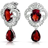 Bling Jewelry Vintage Style Simulated Ruby Drop Clear CZ Earrings Rhodium Plated Brass