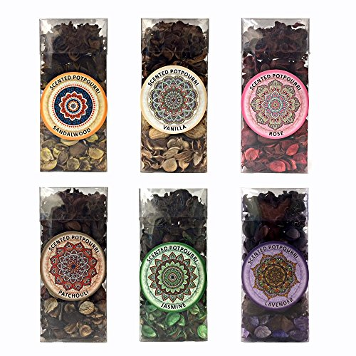 - Six Pack Gift Set of Potpourri Six Pack Includes one of Each Scent, Vanilla, Lavender, Rose, Jasmine, Sandalwood, Patchouli