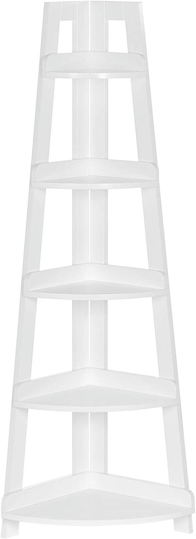 RiverRidge Kids 5-Tier Corner Ladder Floor Shelf, White
