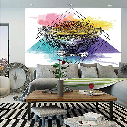Sketchy Huge Photo Wall Mural,Funny Monkey Animal with a Bowtie on Geometric Artistic Watercolor Style Backdrop Decorative,Self-adhesive Large Wallpaper for Home Decor 100x144 inches,Multicolor