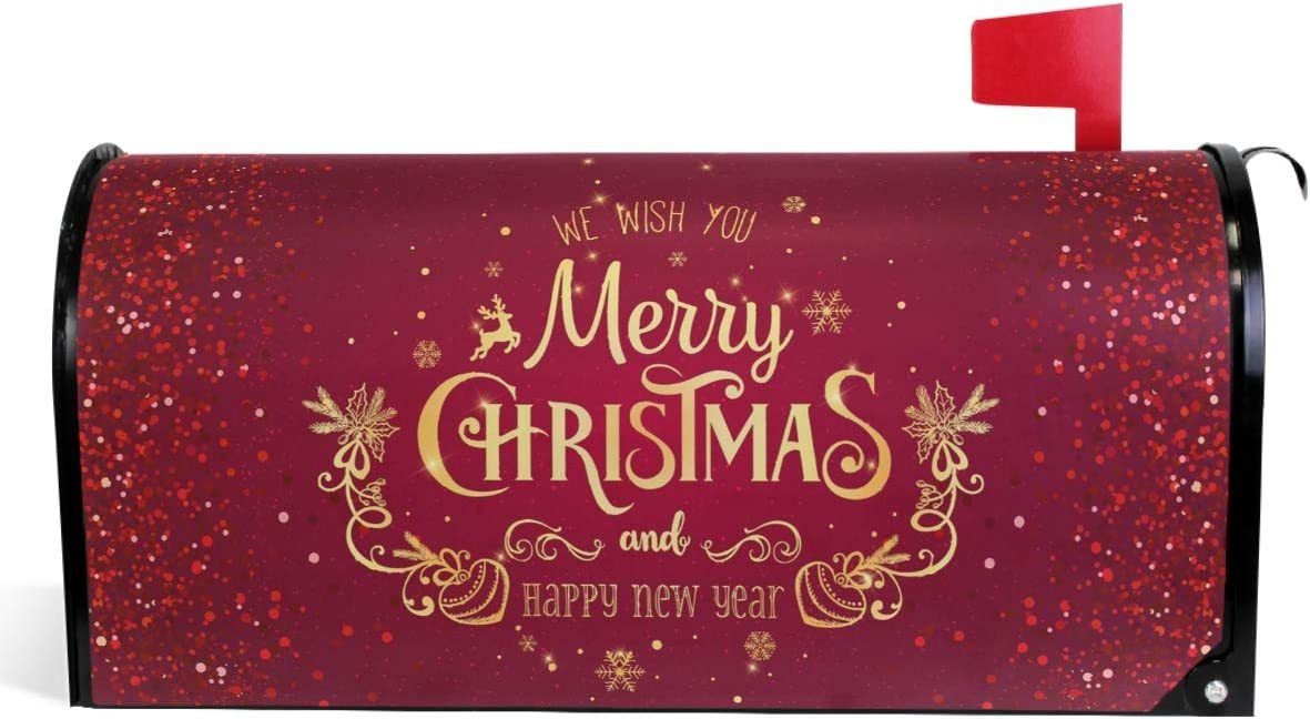 """Wamika Merry Christmas Mailbox Cover Xmas Snowflakes Reindeer Mailbox Covers Magnetic New Year Mailbox Wraps Post Letter Box Cover Garden Home Decorations Standard Size 18"""" X 21"""""""