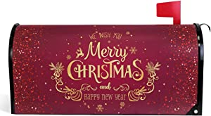 "Wamika Merry Christmas Mailbox Cover Xmas Snowflakes Reindeer Mailbox Covers Magnetic New Year Mailbox Wraps Post Letter Box Cover Garden Home Decorations Standard Size 18"" X 21"""