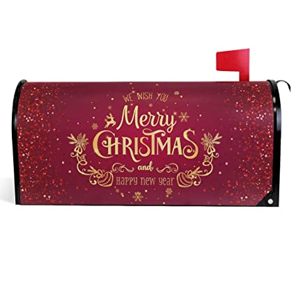 Christmas Mailbox Covers.Wamika Merry Christmas Mailbox Cover Xmas Snowflakes Reindeer Mailbox Covers Magnetic New Year Mailbox Wraps Post Letter Box Cover Garden Home