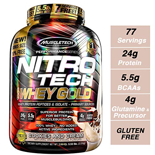 - MuscleTech NitroTech Whey Gold, 100% Whey Protein Powder, Whey Isolate and Whey Peptides, Cookies and Cream, 88.48 Ounce