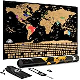 Scratch Off World Map: Large Travel Wall Poster Maps with Country Flags and Landmarks - United States & Countries Outlined - 35 x 24 inches
