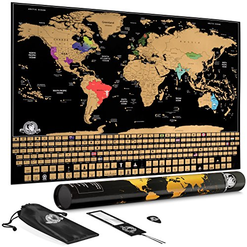 - Scratch Off World Map: Large Travel Wall Poster Maps with Country Flags and Landmarks - United States & Countries Outlined - 35 x 24 Inches