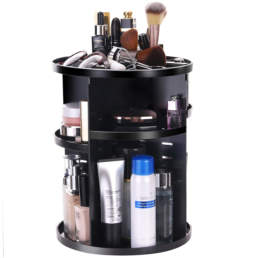 360 Rotating Makeup Organizer Countertop - DIYA Makeup Organizer(2018 New Design) 360 Rotatable Removable Large Capacity Cosmetic Organizer Case Large