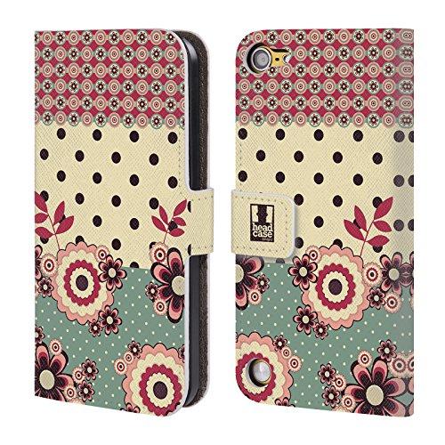 Head Case Designs Rosa Crema Punti Floreali Cover a portafoglio in pelle per iPod Touch 5th Gen / 6th Gen