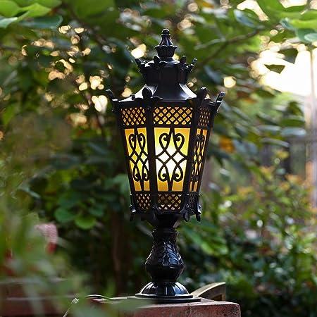 Europea exterior post linterna luz sola cabeza tradicional E27 impermeable jardín decoración columna Faro Villa césped luz Vintage aluminio con vidrio paisaje puerta luz: Amazon.es: Hogar