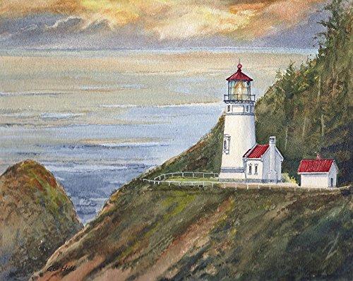 Heceta Head Lighthouse Yachats Oregon Coast Matted Watercolor Art Prints (8x10) - Lighthouse Watercolor