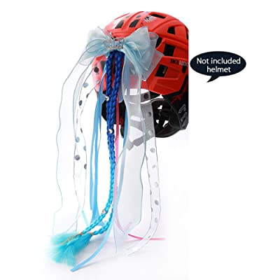 TINTON LIFE Crown Bowknot Streamers Helmet Accessories for Kids BMX Scooter Skate BalanceBike Helmet Pigtails Toddler Child Helmet Ponytail for Cycling Rollerblading Skateboarding Blue : Sports & Outdoors
