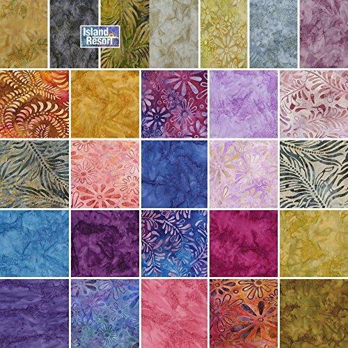 Benartex ISLAND RESORT BALI BATIKS Precut 5-inch Charm Pack Cotton Fabric Quilting Squares Assortment