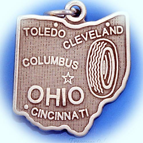 Ohio State Map Columbus Cleveland Cincinnati Toledo .925 Sterling Silver Charm Vintage Crafting Pendant Jewelry Making Supplies - DIY for Necklace Bracelet Accessories by CharmingSS