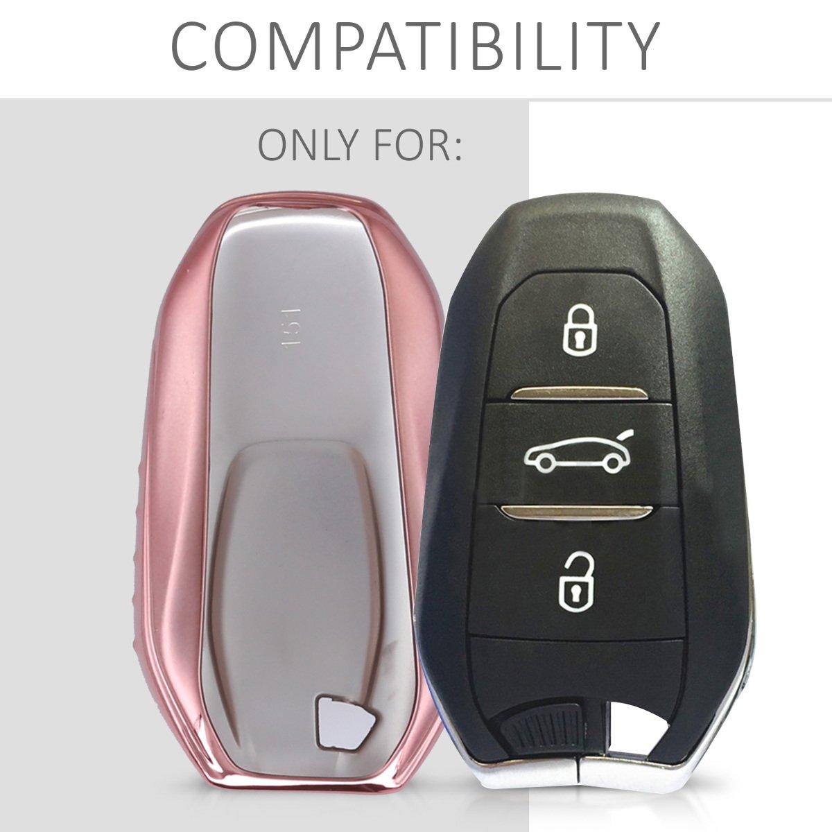 Solamente Keyless Go - Carcasa Suave de TPU para Llaves kwmobile Funda para Llave Smartkey de 3 Botones para Coche Peugeot Citroen Cover de Mando y Control de Auto en Rosa Oro Brillante