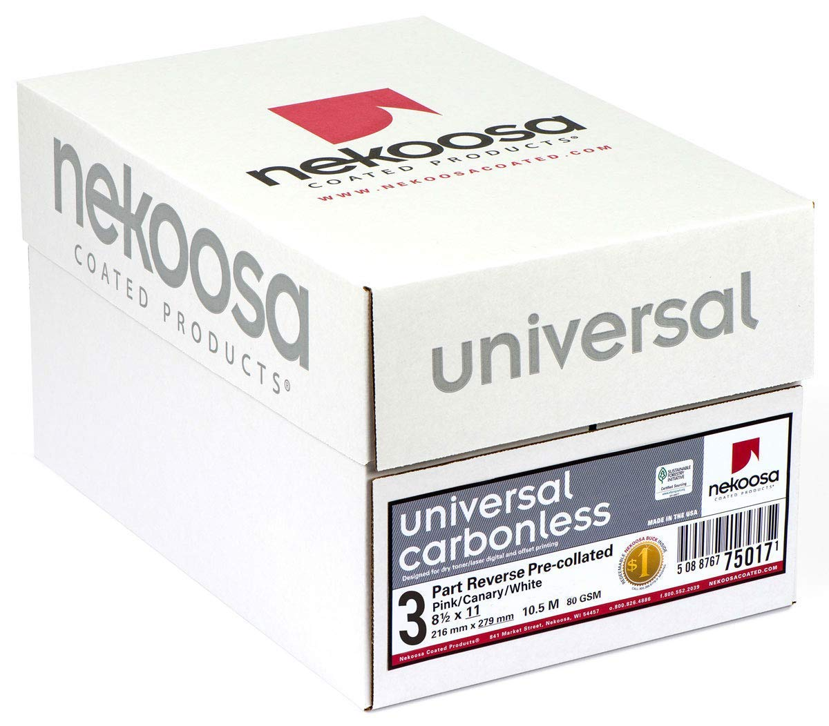 8.5 x 11 Nekoosa Universal Carbonless Paper, 3 Part Reverse (Bright White/Canary/Pink), 835 Sets, 2505 Sheets, 5 Reams