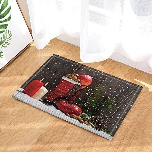 (Christmas Decor Candles and Boot Full of Gifts Snowflakes Backdrop Bath Rugs Non-Slip Doormat Floor Entryways Indoor Front Door Mat Kids Mat 15.7x23.6in Bathroom Accessories)