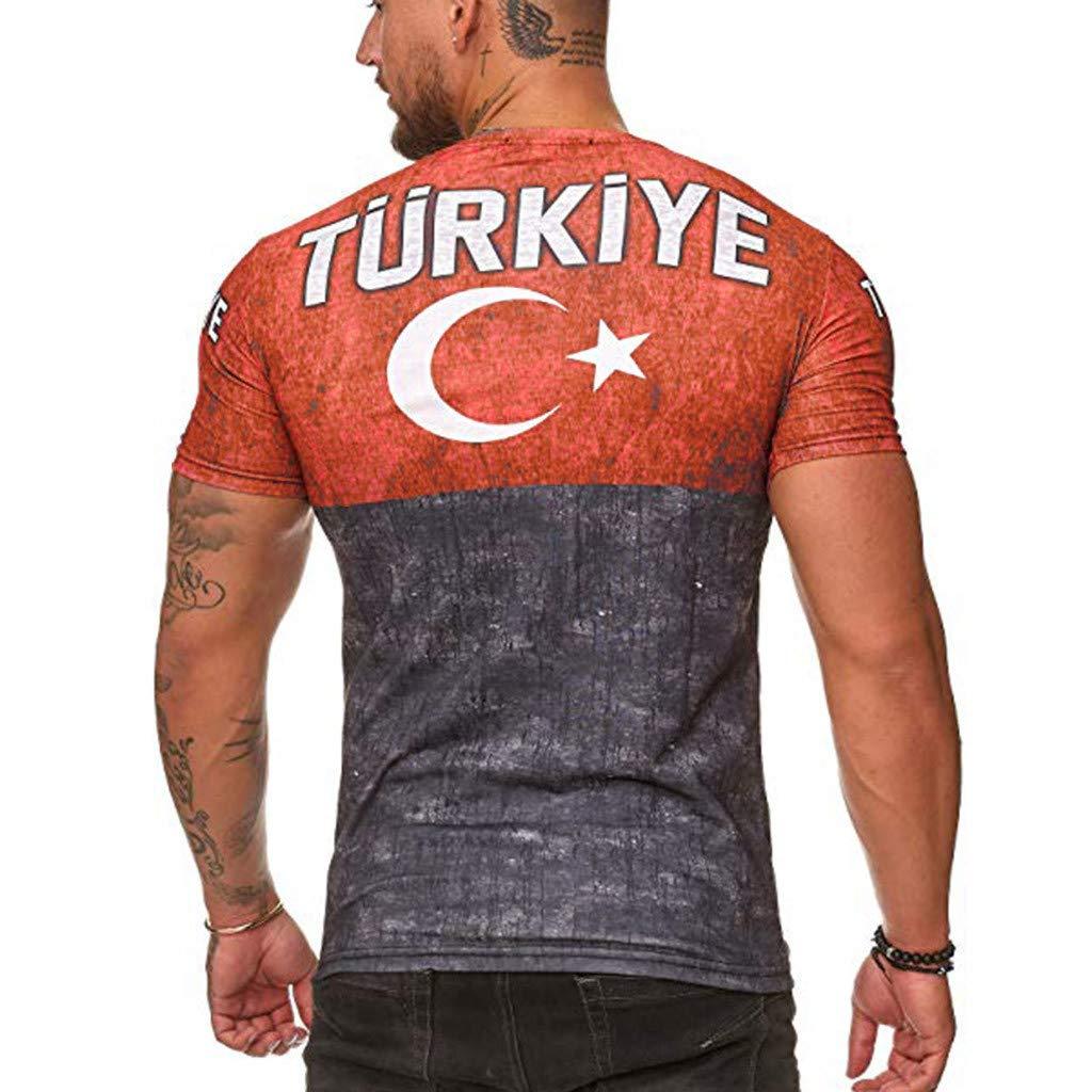 F/_Gotal Mens T-Shirts Fashion 3D Printing Colorblock Summer Short Sleeve Casual Tee Shirts Blouse Tops Shirt for Men