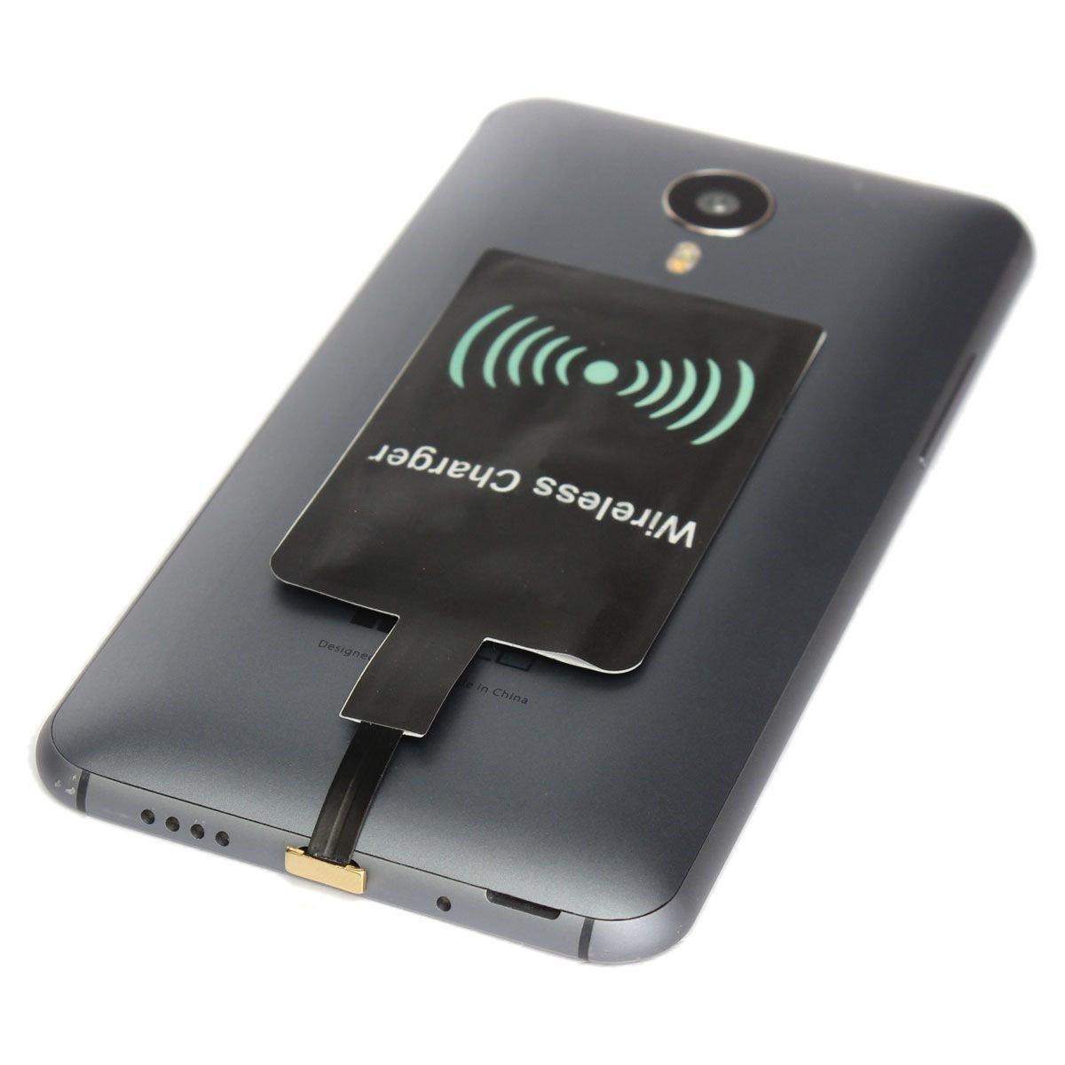 SODIAL Mirco USB Qi Wireless Charger Charging Receiver Chip Android Cellphone Black, Narrow side upwards by SODIAL (Image #2)
