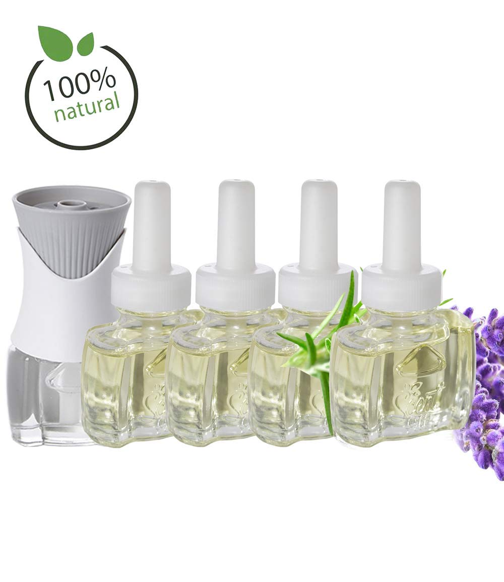 (4 Pack) 100% Natural Lavender Scent Fill® Brand Plug in Refills and (1) Air Wick® PlugIn Warmer