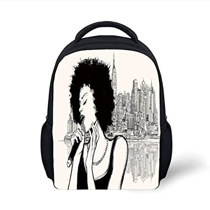 8eb7451ea1ab Amazon.com: iPrint Kids School Backpack Afro Decor,American Jazz ...