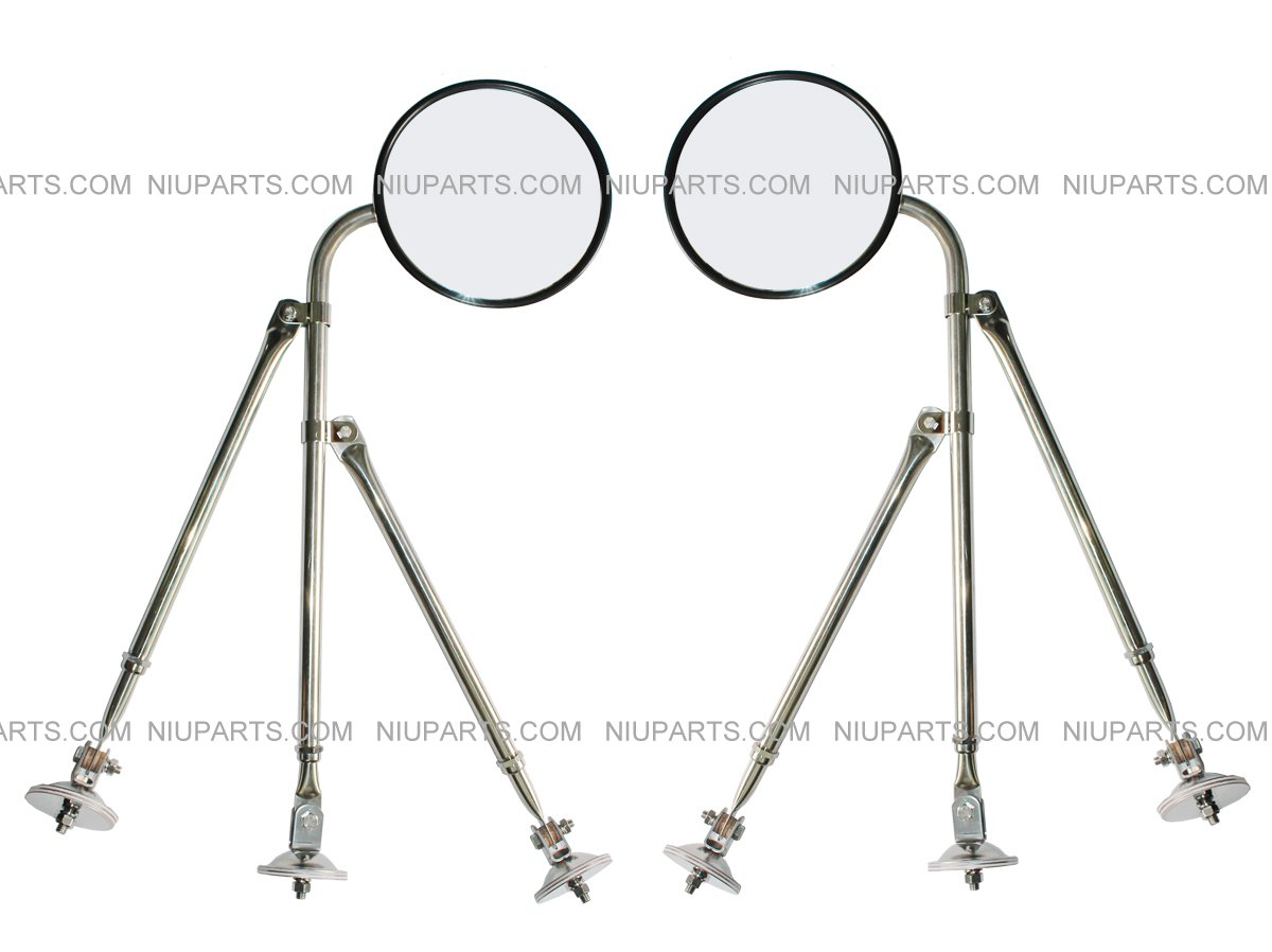 Stainless Steel 8 Hood Mirror with Tri-Pod Bracket Arm Pair
