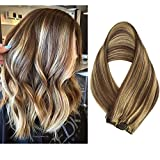Clip in Hair Extensions Human Hair 7 Pieces 70g Clip On Extensions Brown with Blonde Highlights Silky Straight Weft Remy Real Hair (15 inches