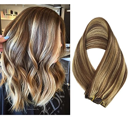 Clip in Hair Extensions Human Hair 7 Pieces 70g Clip On Extensions Brown with Blonde Highlights Silky Straight Weft Remy Real Hair (15 inches, #6-613) -