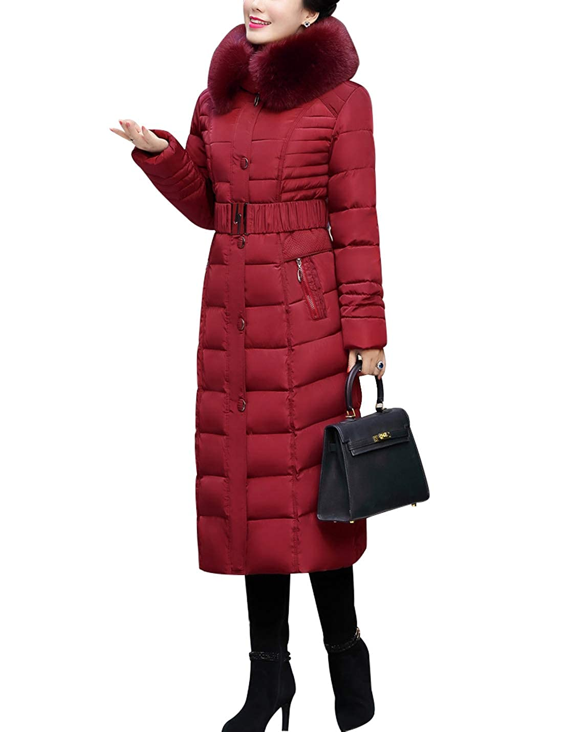 Yeokou Women's Slim Fur Hooded Long Quilted Puffer Winter Coat Parka with Belt