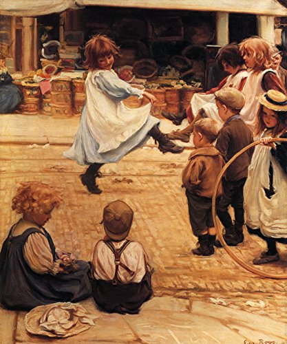 AN IMPROMPTU BALL GIRLS DANCING CHILDREN PLAYING ON THE STREET 1899 PAINTING BY EVA ROOS ON CANVAS REPRO by WONDERFULITEMS