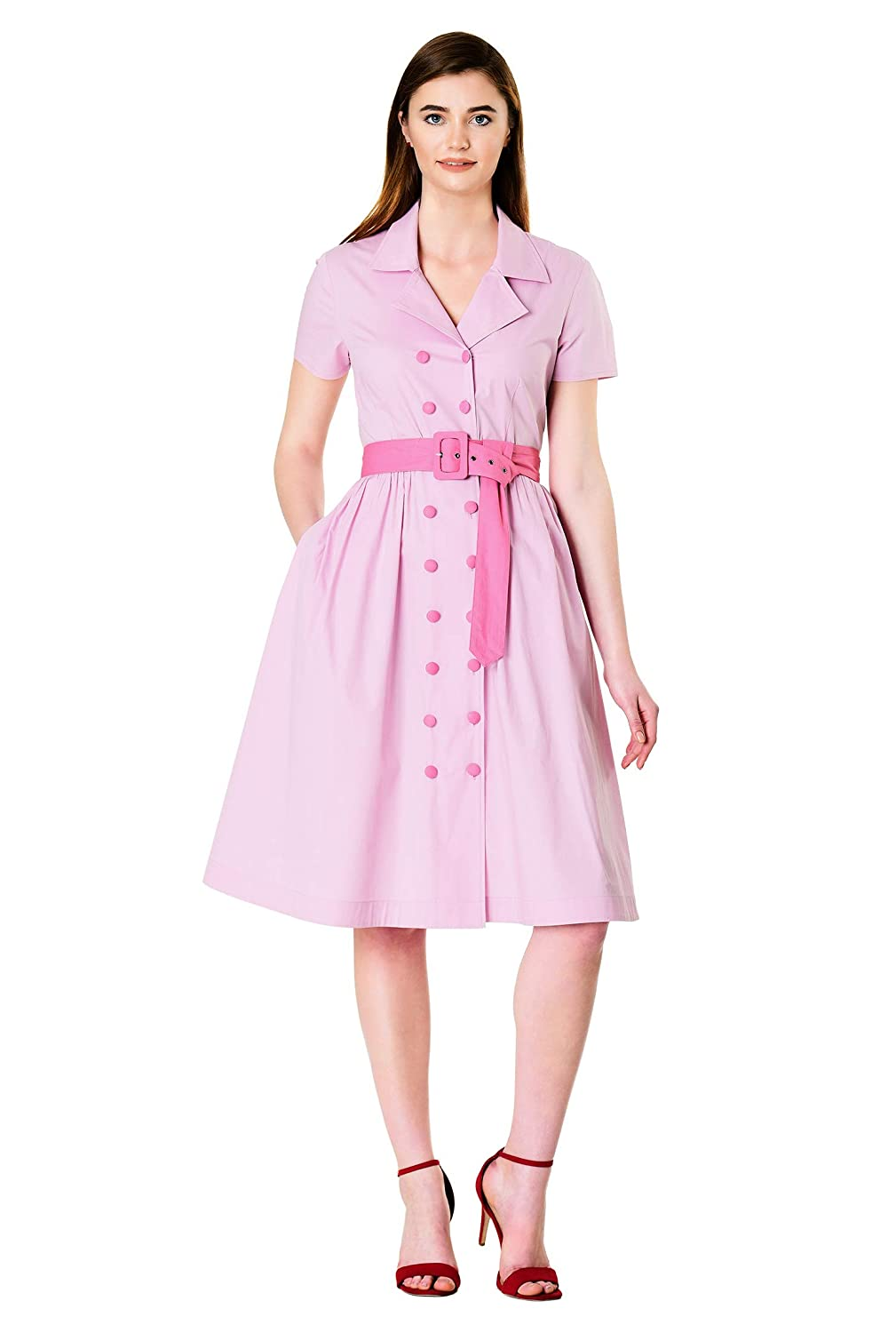 1950s Costumes- Poodle Skirts, Grease, Monroe, Pin Up, I Love Lucy eShakti Womens Contrast Button poplin Belted Shirtdress $69.95 AT vintagedancer.com