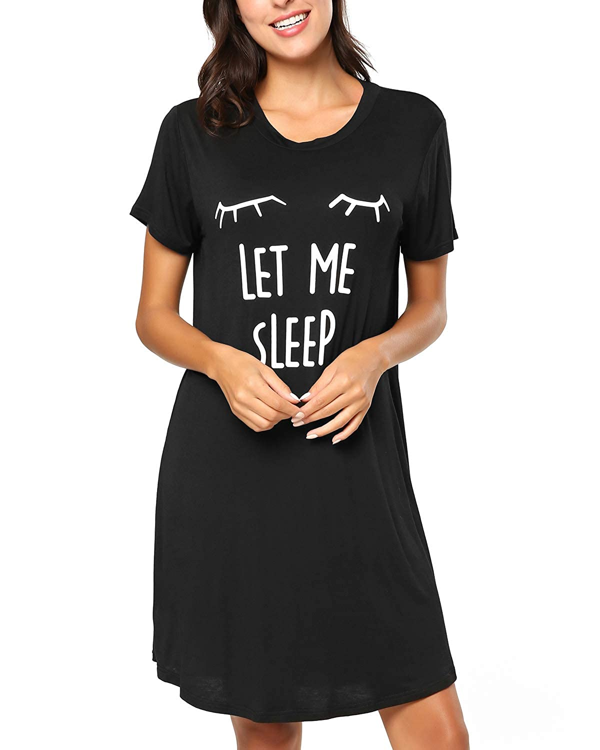 b52d7c372f KENANCY Women's Short Sleeve Nightgown Cotton Sleep Shirt Printed Scoopneck Sleep  Tee Nightshirt at Amazon Women's Clothing store: