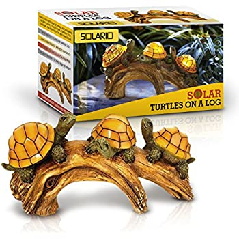 Solar Powered Turtles On Log Decoration  Ultra Durable Polyresin  Intricate  Detailing  Wireless Outdoor
