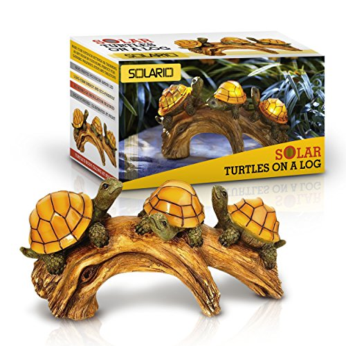 Solar Powered Turtles on Log Decoration- Ultra Durable Polyresin- Intricate Detailing- Wireless Outdoor Accent Lighting- Best Decor Ornaments for Garden/ Yard/ Water (Garden Accent Statue)