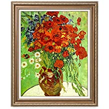 DECORARTS Red Poppies and Daisies, Vincent Van Gogh Art Reproduction. Giclee Print& Framed Art for Wall Decor. 30x24, Framed size: 35x29