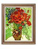 "DecorArts - Red Poppies and Daisies, Vincent Van Gogh Art Reproduction. Giclee Print& Framed Art for Wall Decor. 30x24"", Framed size: 35x29"""