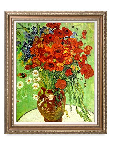 DECORARTS - Red Poppies and Daisies, Vincent Van Gogh Art Reproduction. Giclee Print& Framed Art for Wall Decor. 30x24, Framed Size: 35x29