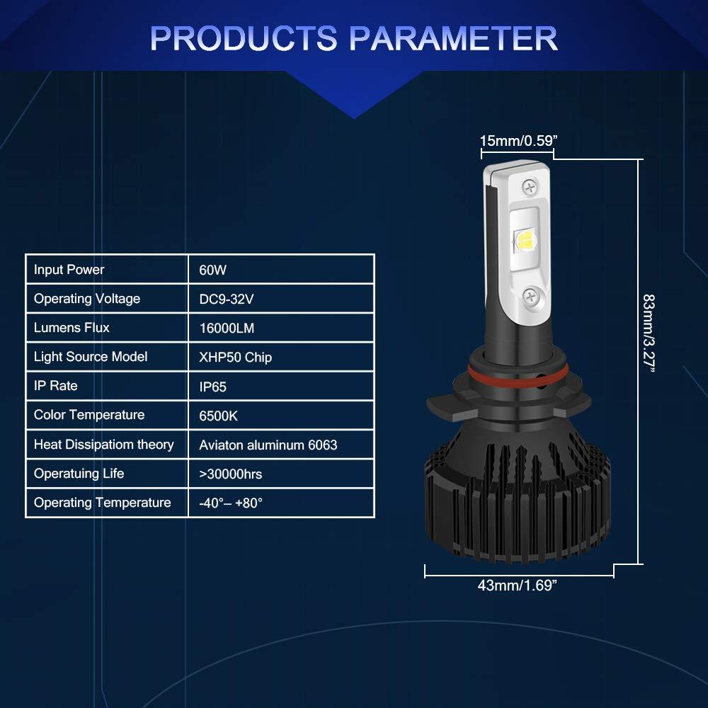 Kit de conversión de bombillas LED NGCAT, de alta calidad (2 unidades, 10000 lúmenes, CREE-XHP50, chips LED 9012 HIR2, blanco puro, 6500 K, ...